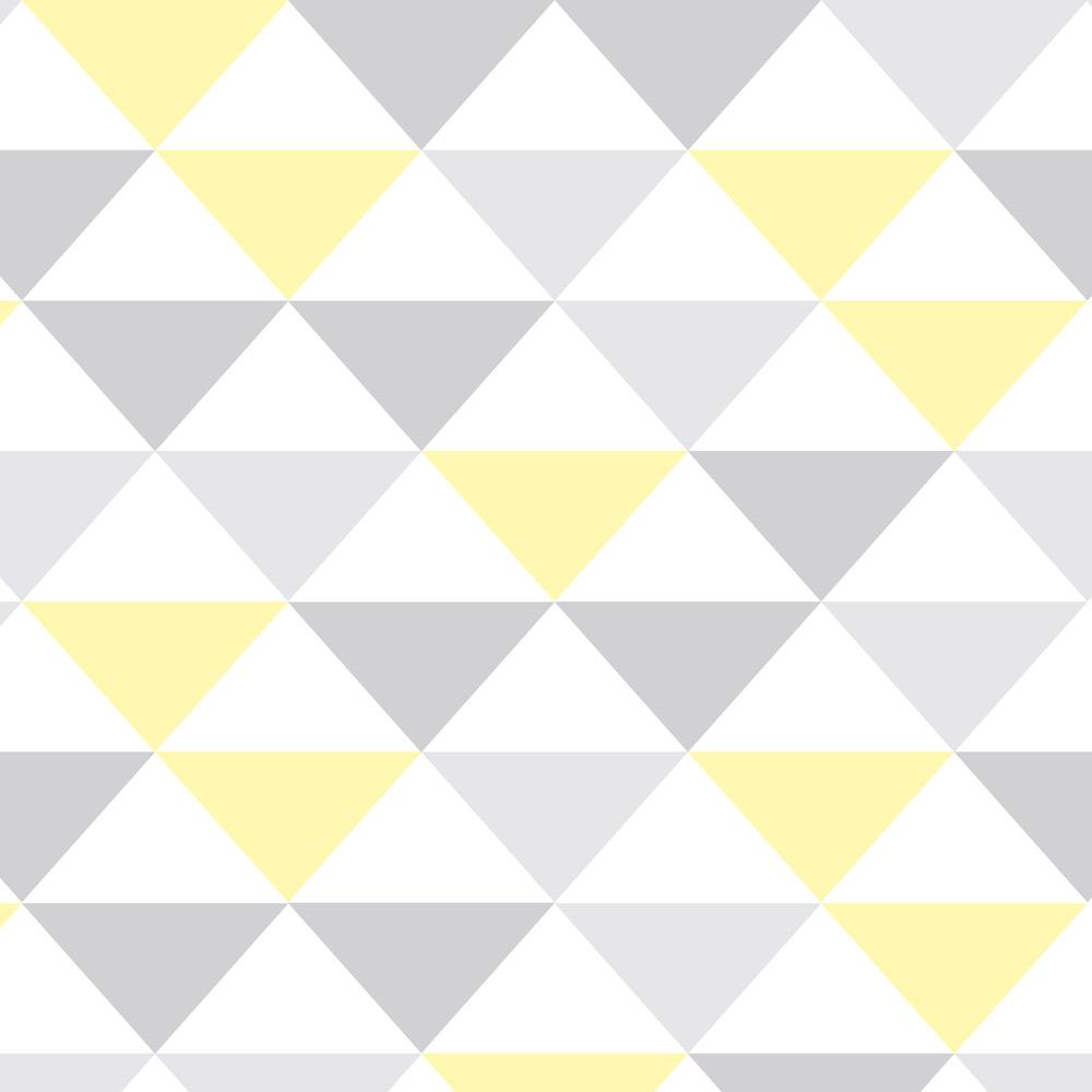 Papel de Parede Geométrico Cinza e Amarelo