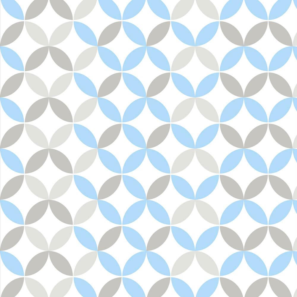 Papel de Parede Geométrico Cinza e Azul