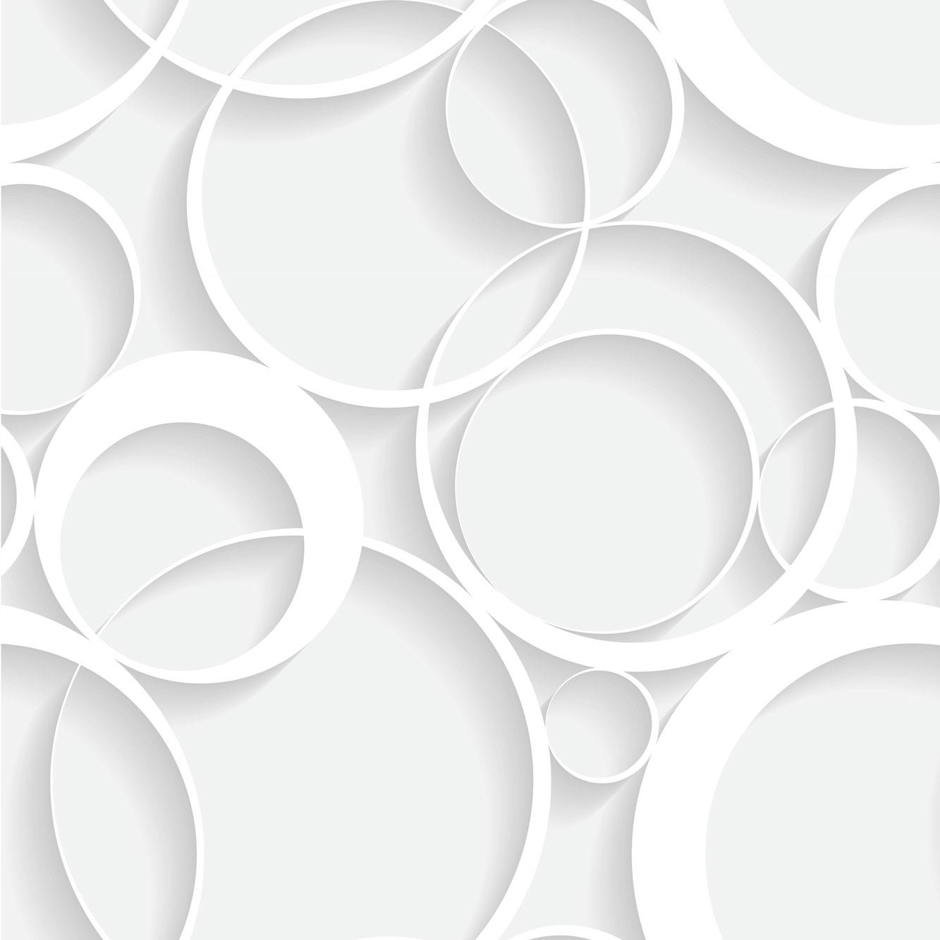 Papel de Parede Geométrico Círculos Branco
