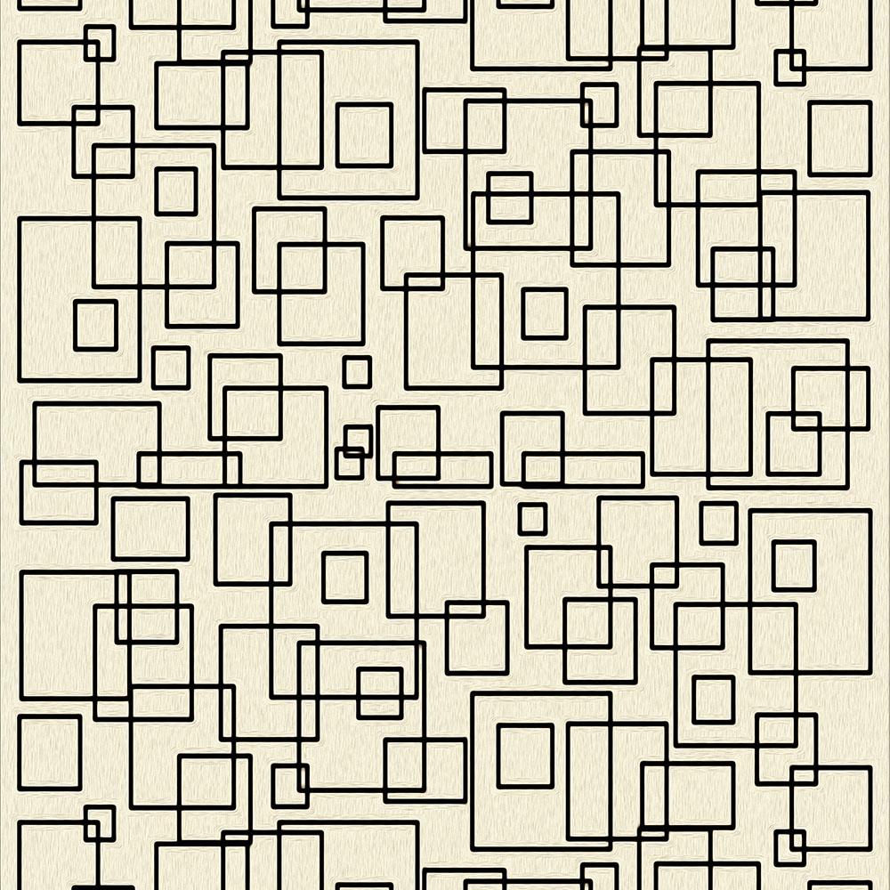Papel de Parede Geométrico Contorno Preto