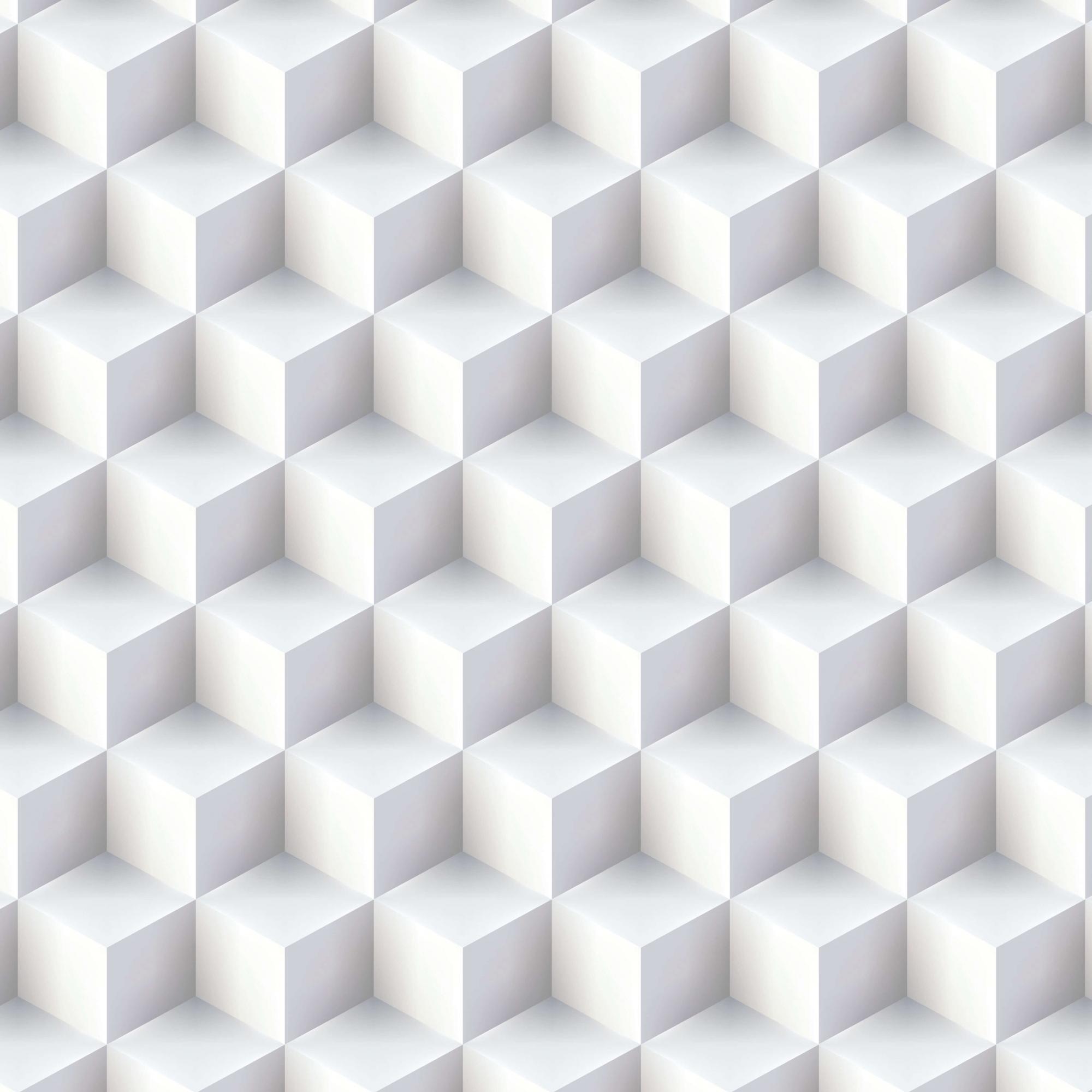Papel de Parede Geométrico Cubo Branco Efeito 3D