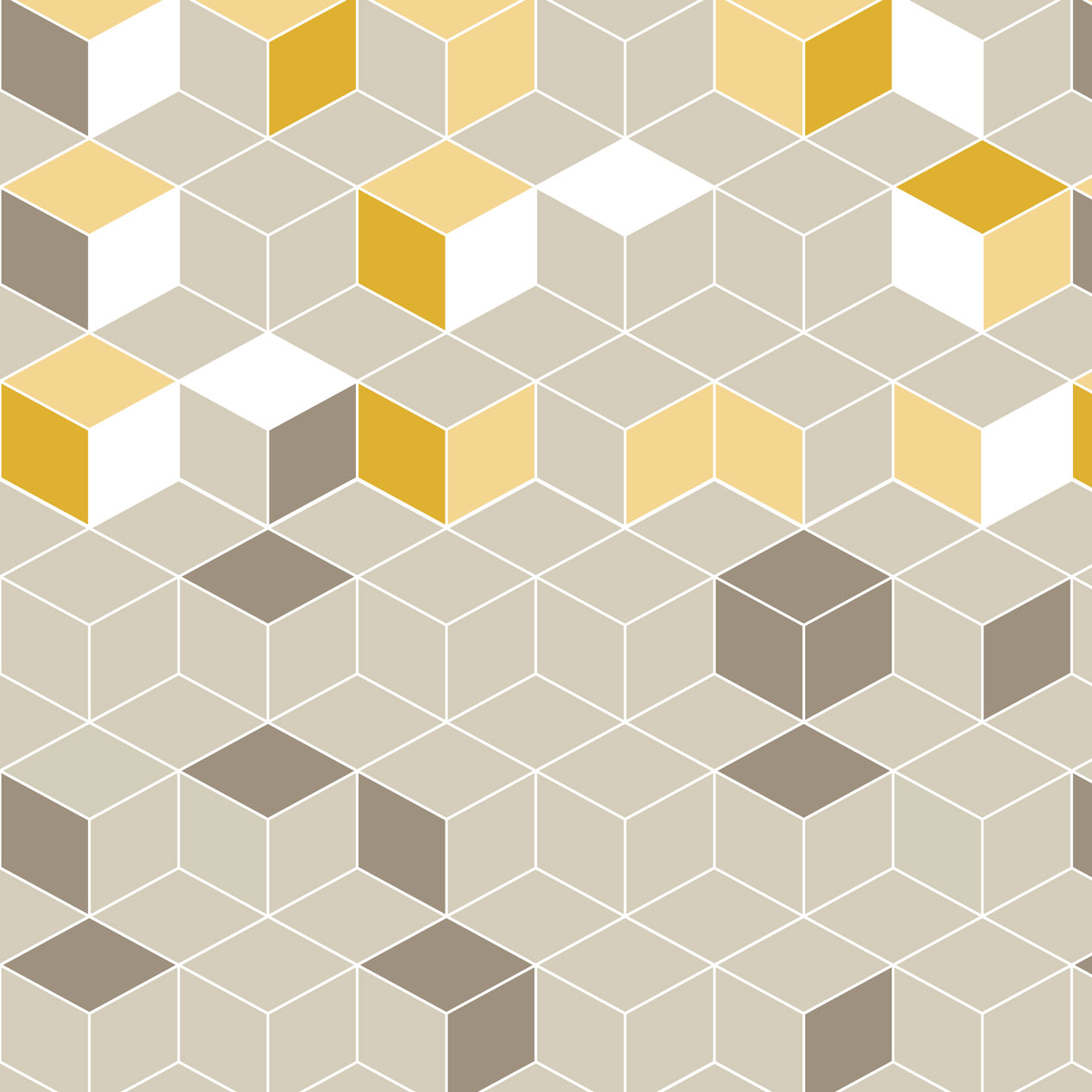 Papel de Parede Geométrico Cubos Cinza e Amarelo