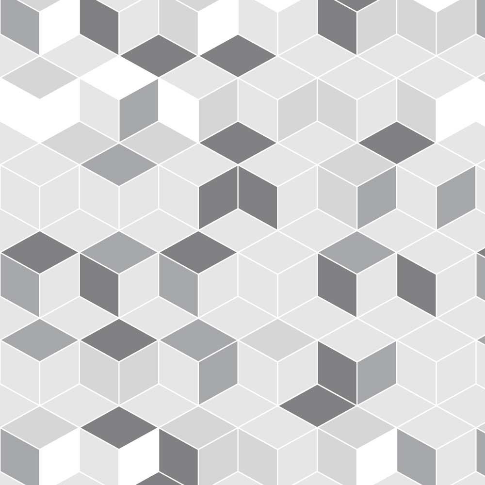 Papel de Parede Geométrico Cubos Tons Cinza