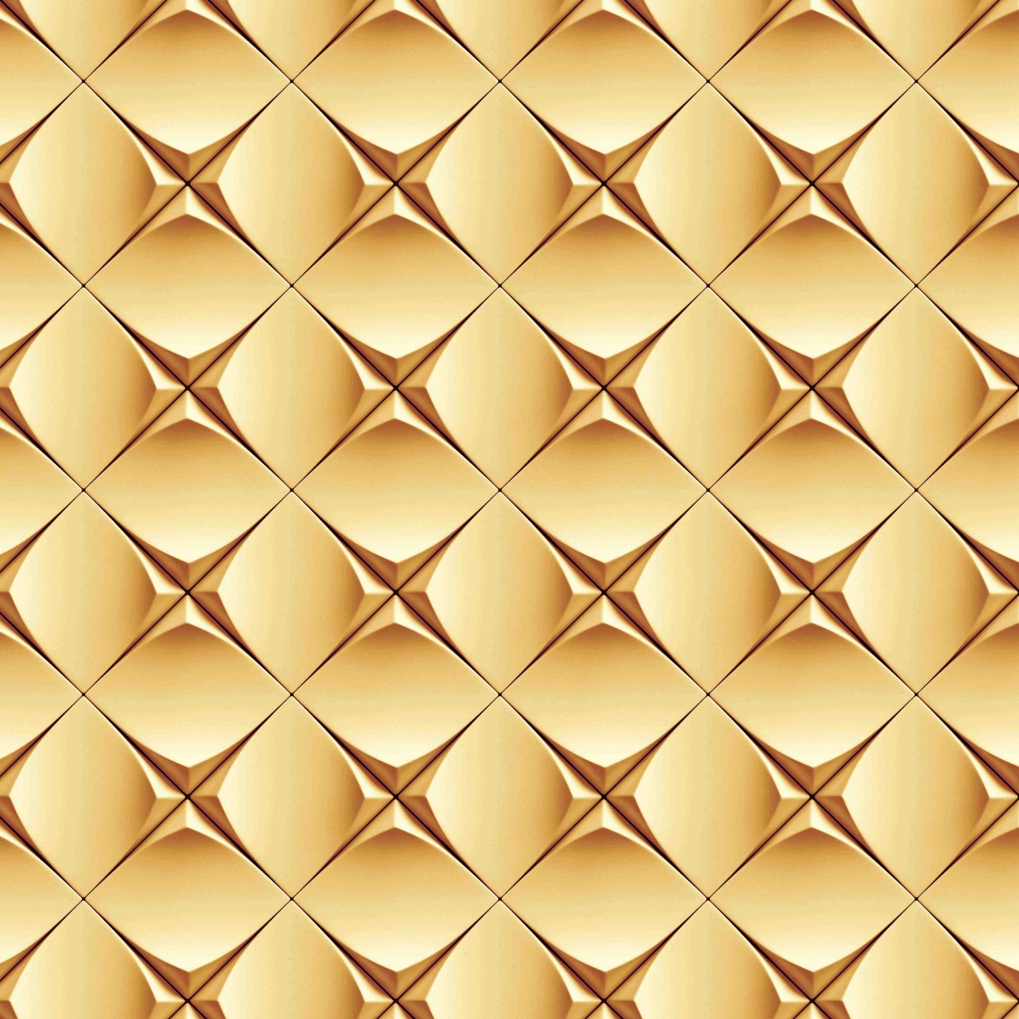 Papel de Parede Geométrico Dourado Efeito 3D