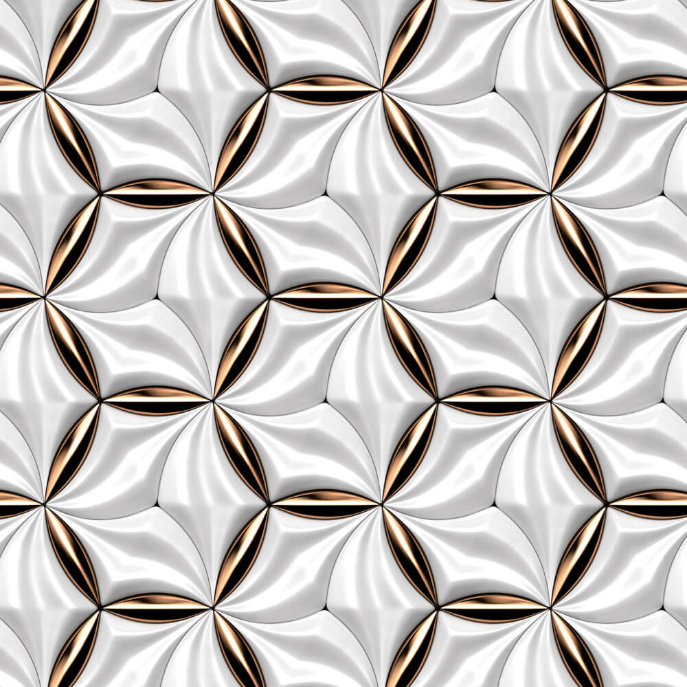 Papel de Parede Geométrico Efeito Cromado