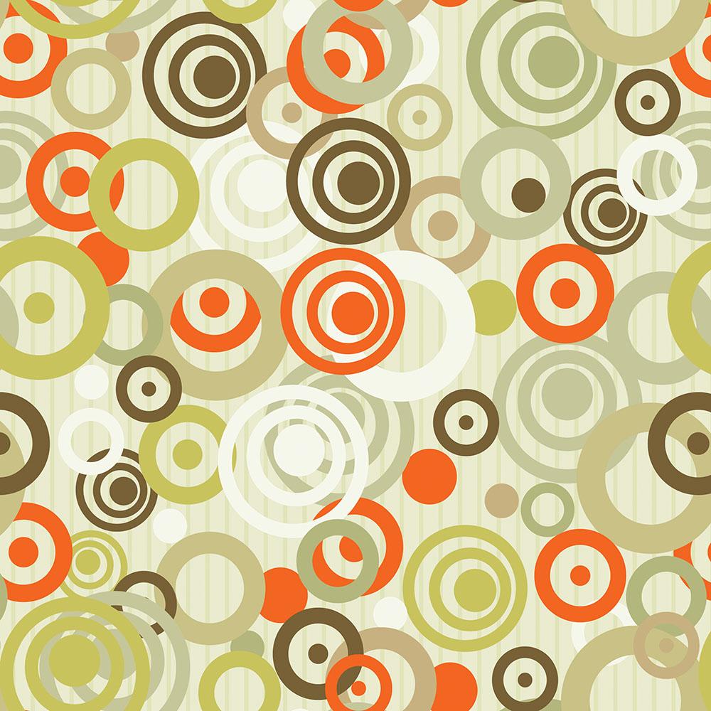Papel de Parede Geométrico Espirais Laranja e Verde