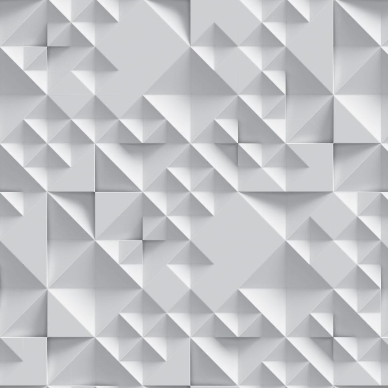 Papel de Parede Geométrico Estilo 3D Branco Gelo