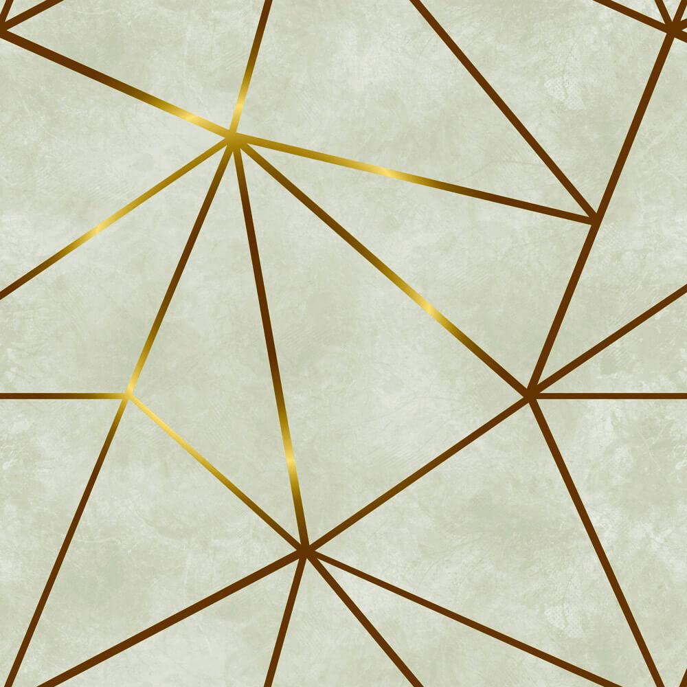 Papel De Parede Geométrico Fendi Zara Gold Cinza