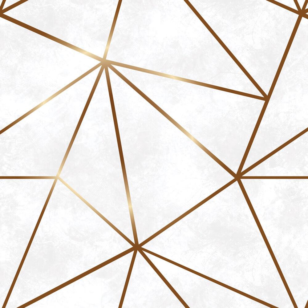 Papel De Parede Geométrico Fendi Zara Gold Fundo Tons de Cinza