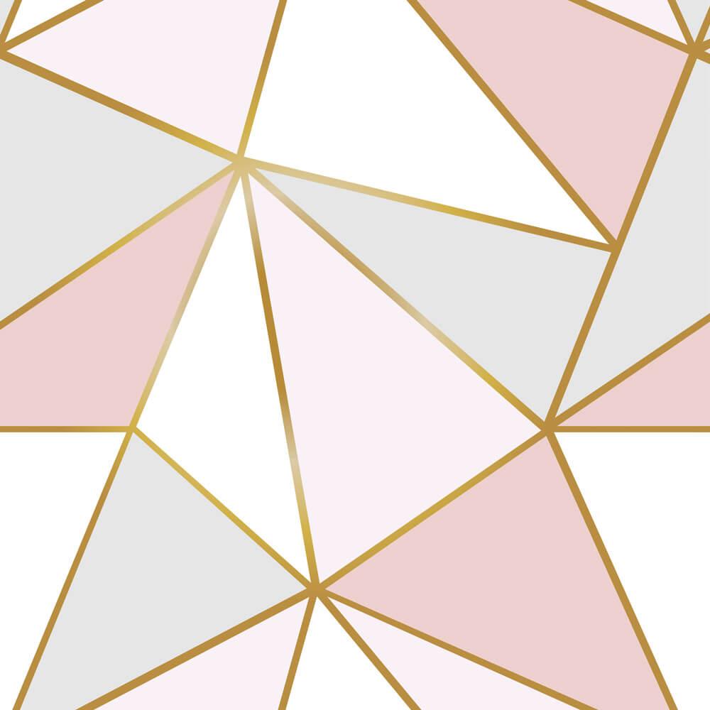 Papel de Parede Geométrico Fendi Zara Rose, Cinza e Branco