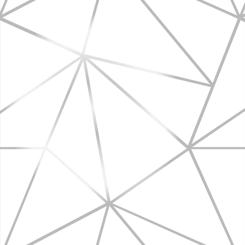 Papel De Parede Geométrico Fendi Zara Silver Fundo Branco