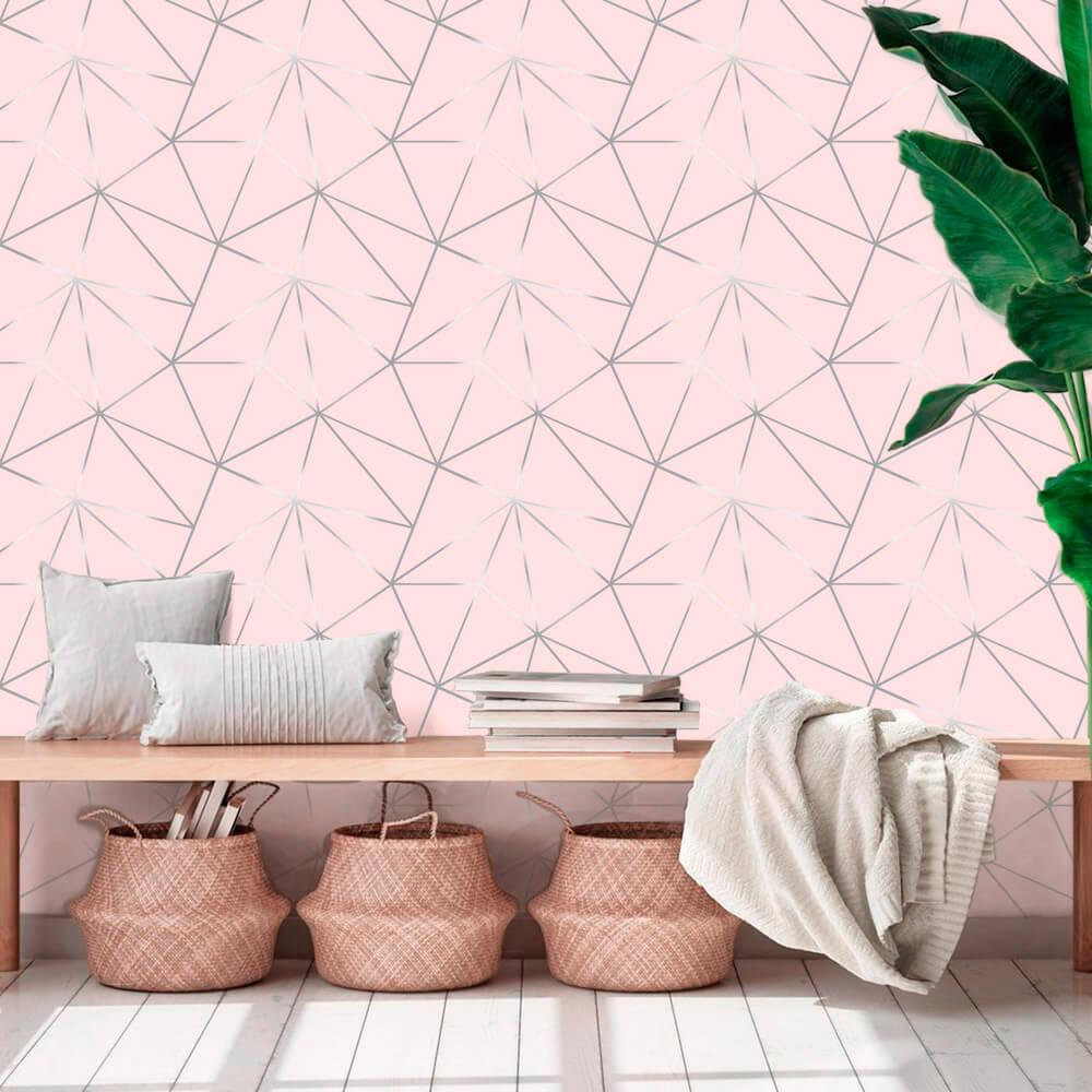 Papel De Parede Geométrico Fendi Zara Tons de Rosa Silver