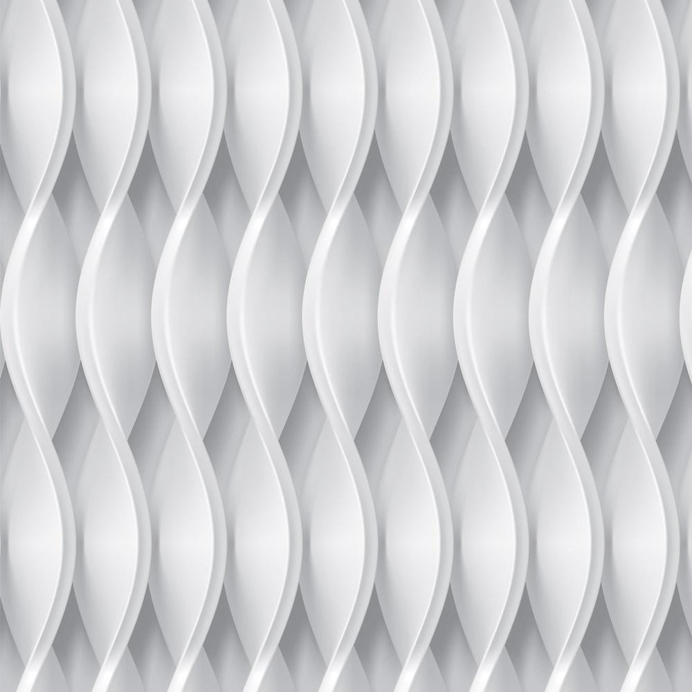 Papel de Parede Geométrico Formas Curvas Prata