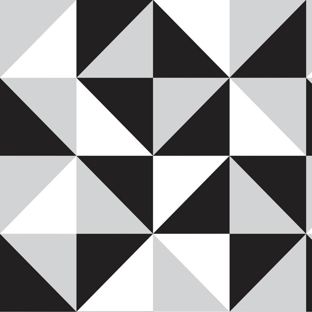 Papel de Parede Geométrico Formas Geométricas, Preta, Cinza e Branca