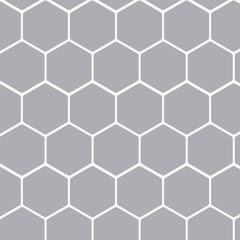 Papel de Parede Geométrico Hexágono Colmeia Cinza
