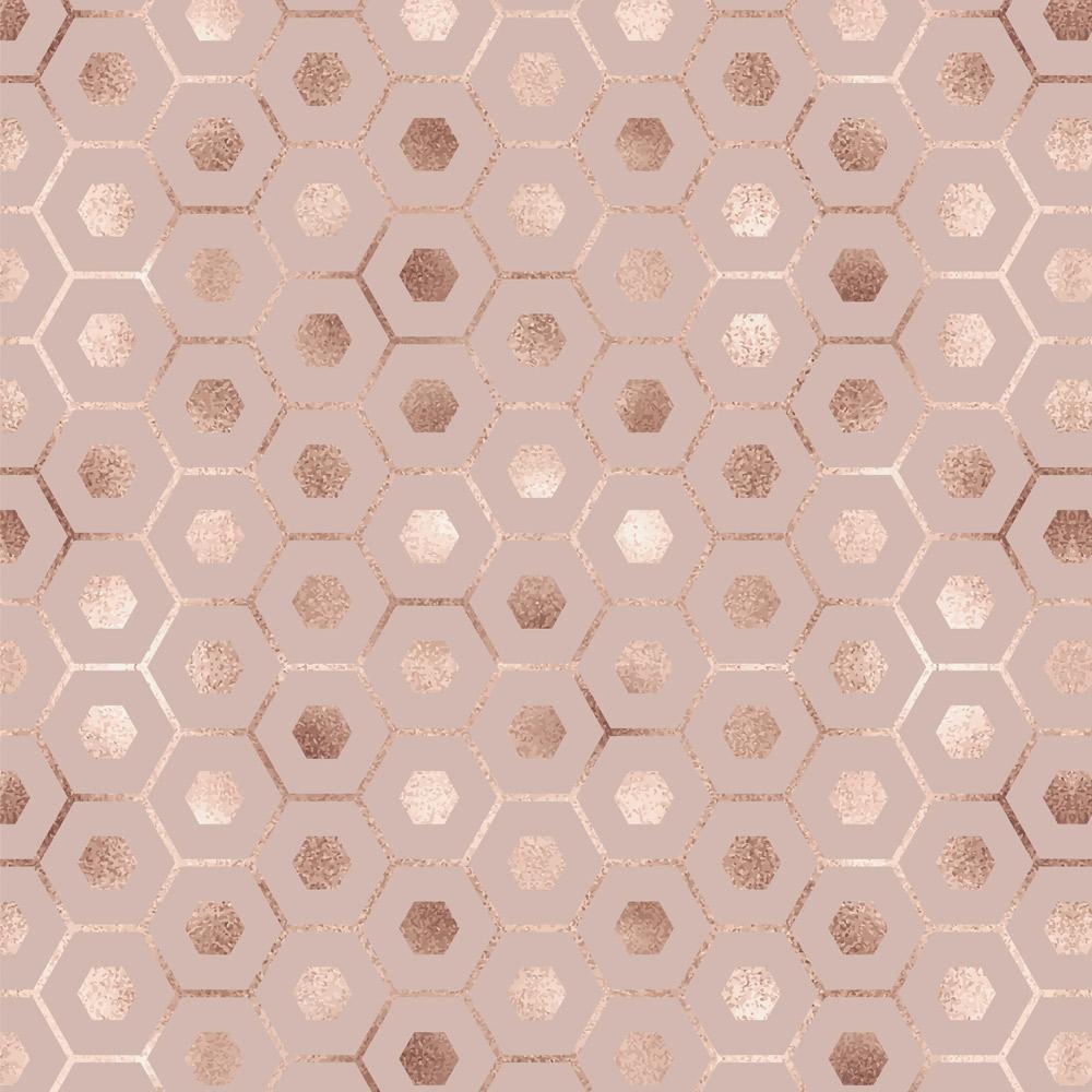 Papel de Parede Geométrico Hexágono Elegance Rose Gold