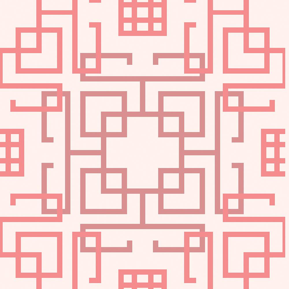 Papel de Parede Geométrico Labirinto Rosa