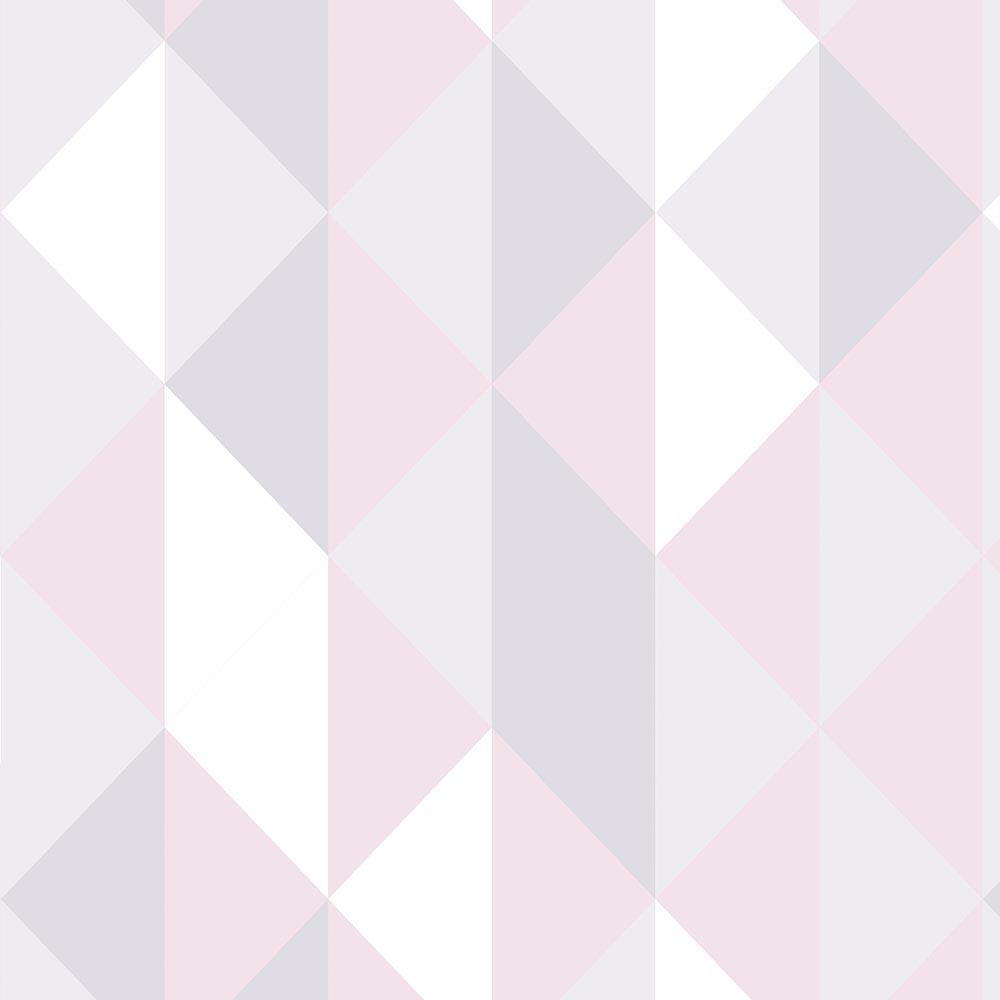 Papel de Parede Geométrico Losango Tons Claros Rosa e Cinza