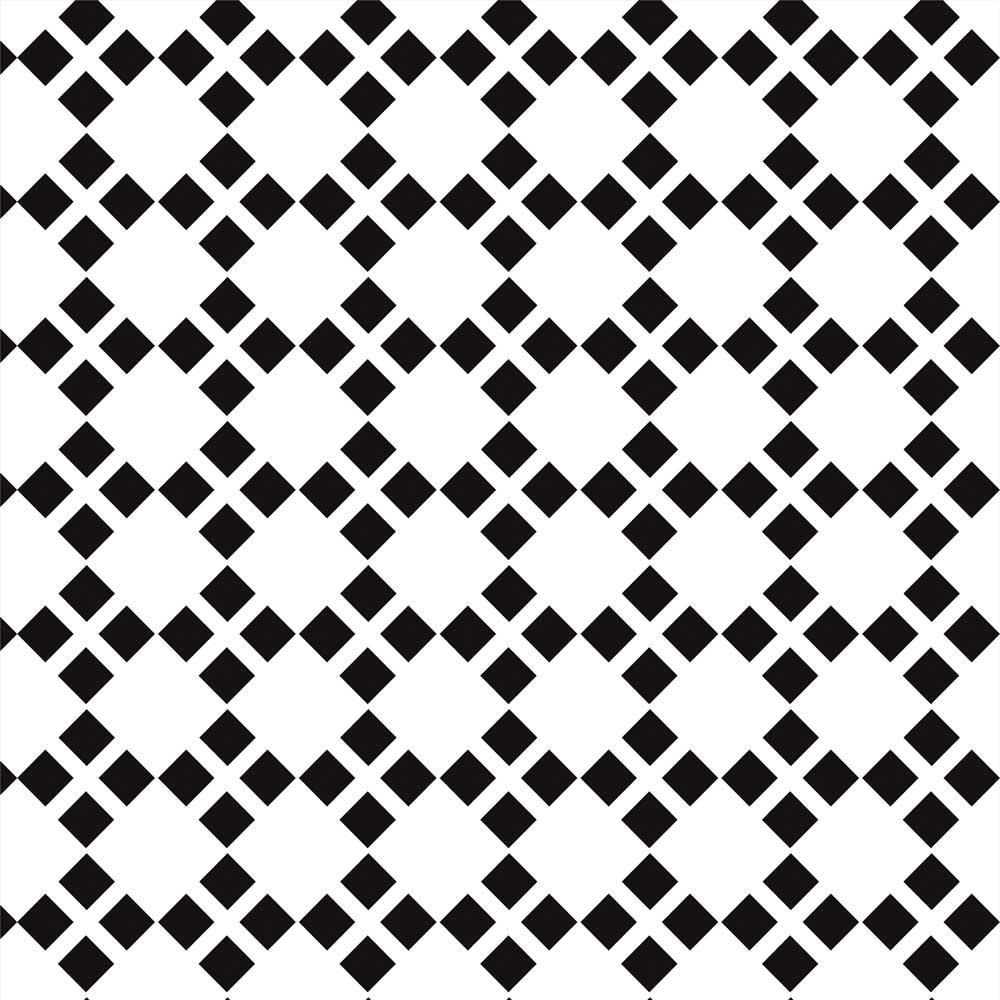 Papel de Parede Geométrico Losangos Branco e Preto