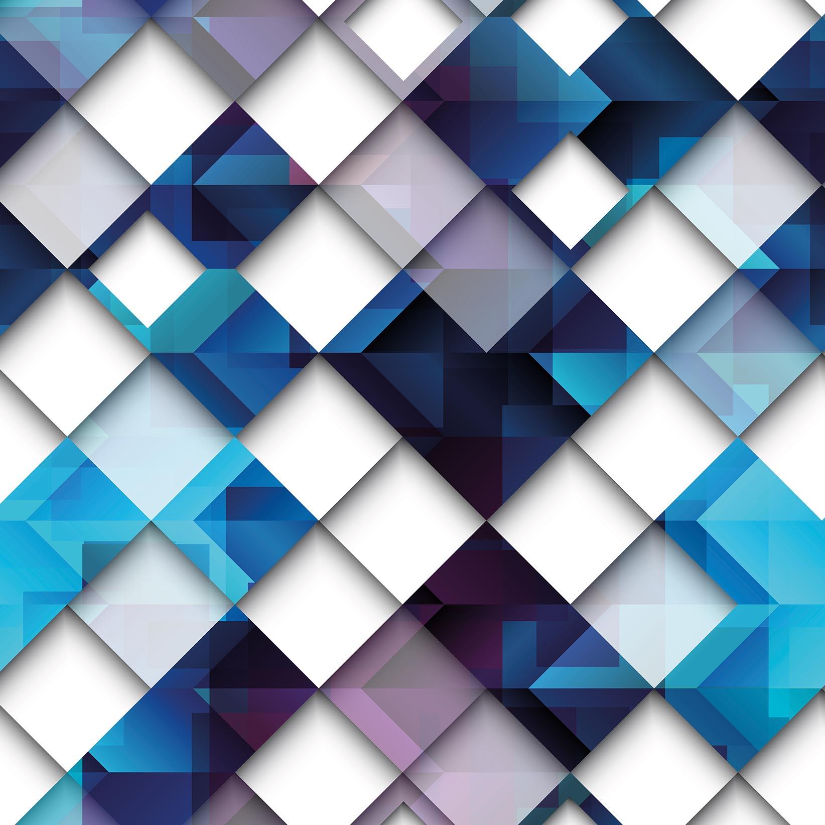 Papel De Parede Geométrico Losangos Diamantes Tons de Azul e Branco
