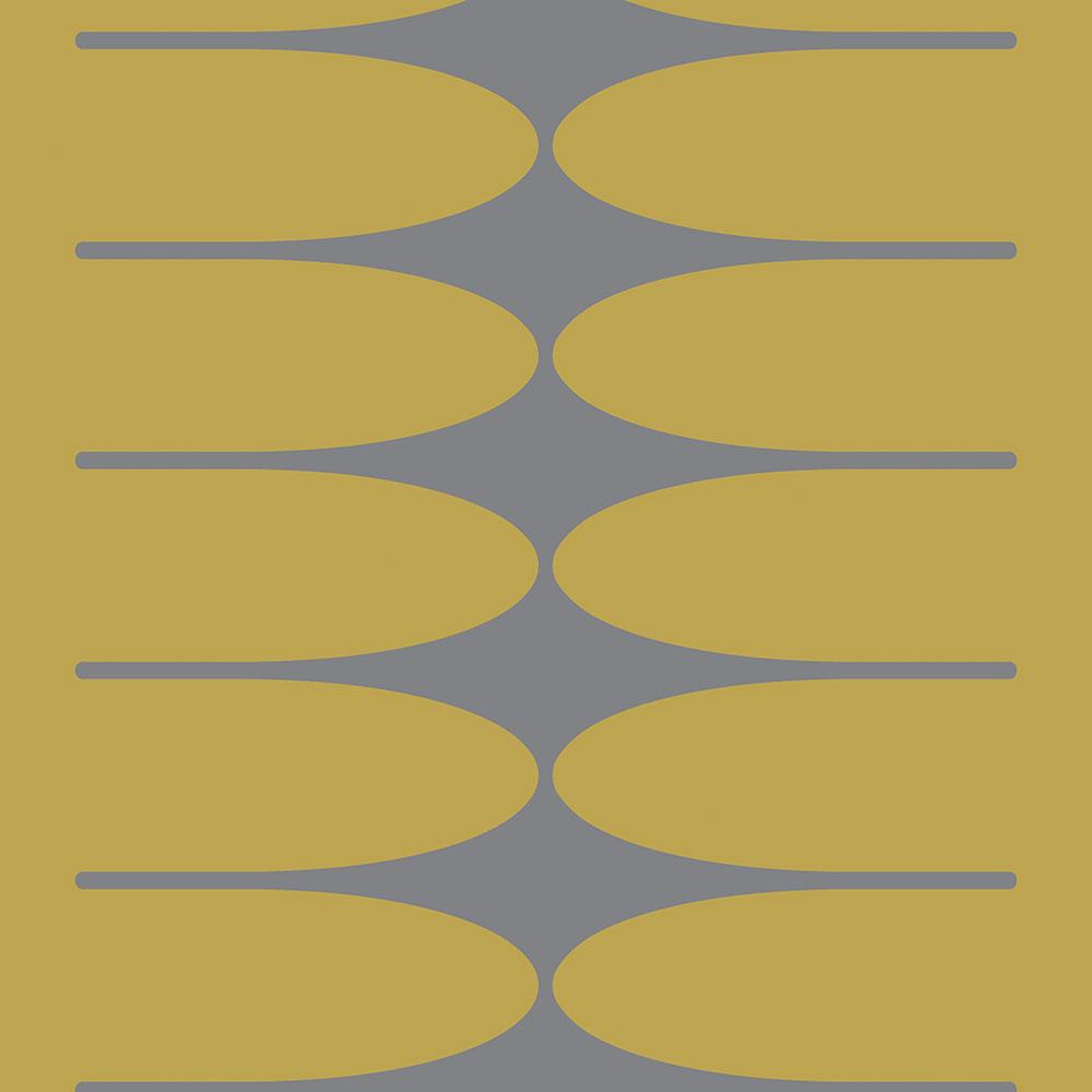 Papel de Parede Geométrico Mostarda Cinza