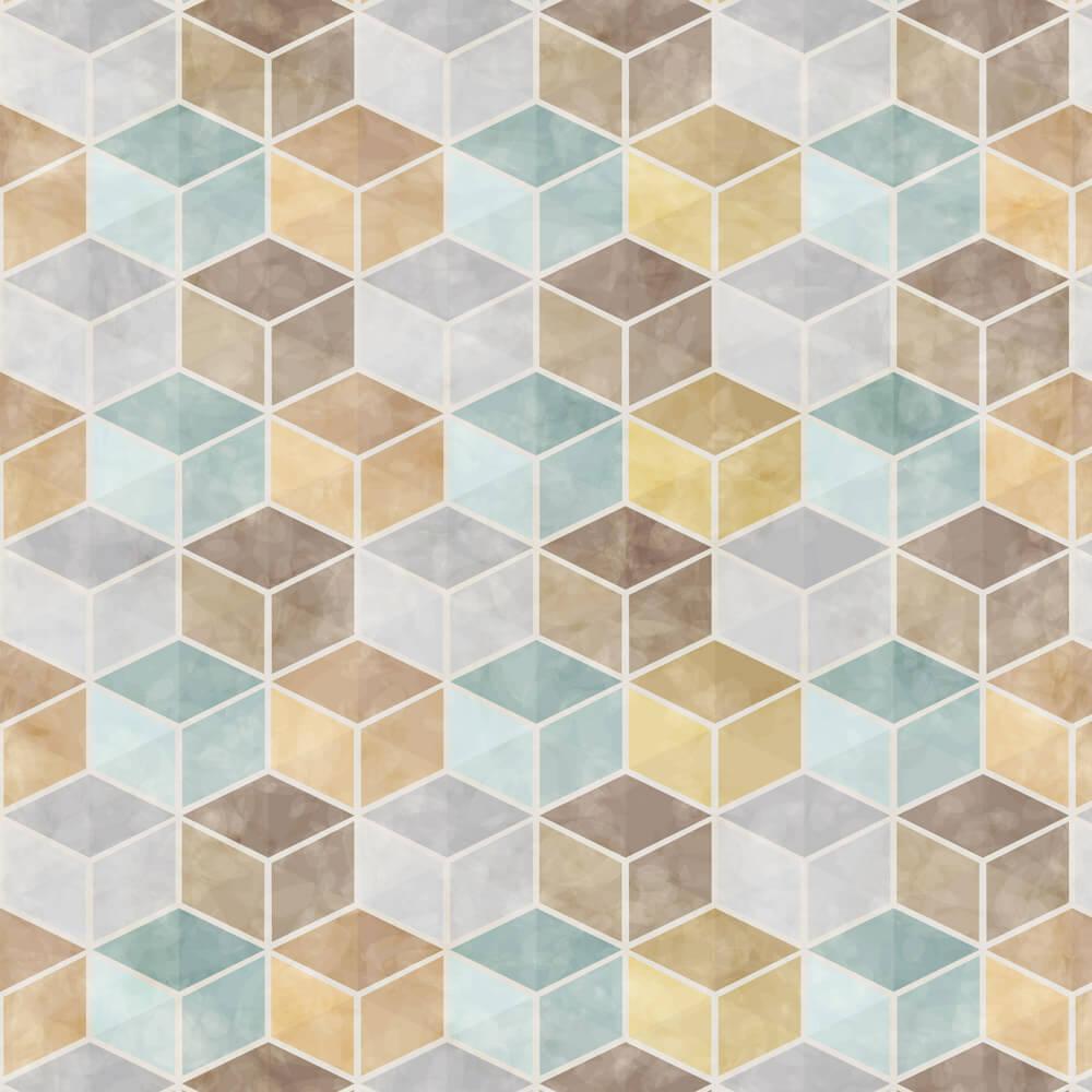 Papel de Parede Geométrico Prateado Cubos Amarelo e Azul