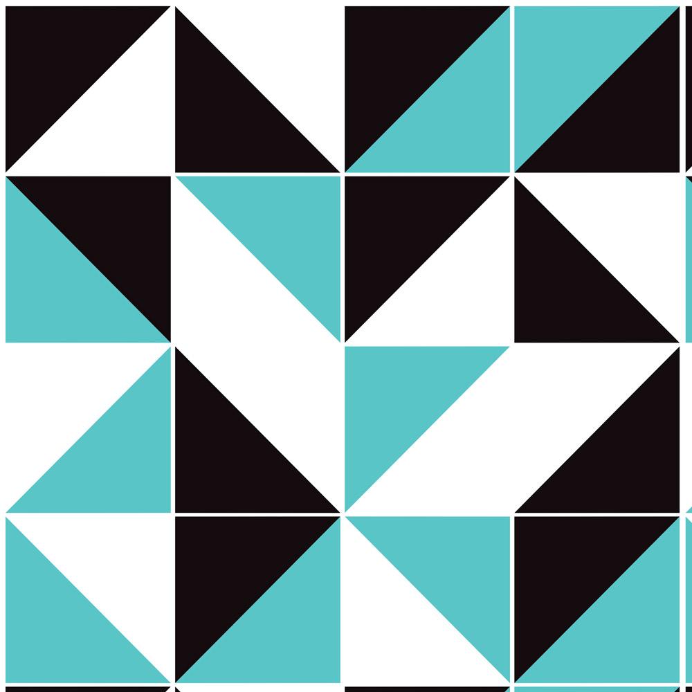 Papel de Parede Geométrico Preto e Azul