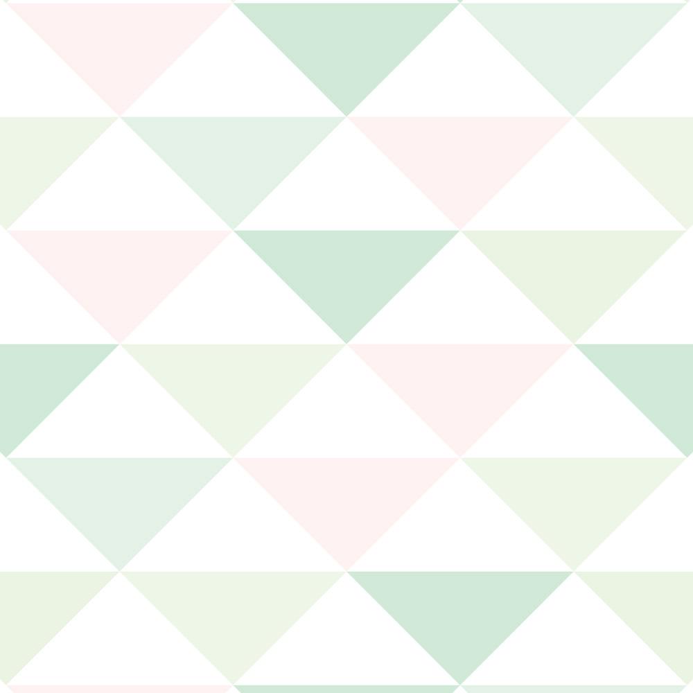 Papel de Parede Geométrico Triângulos Rosa e Verde