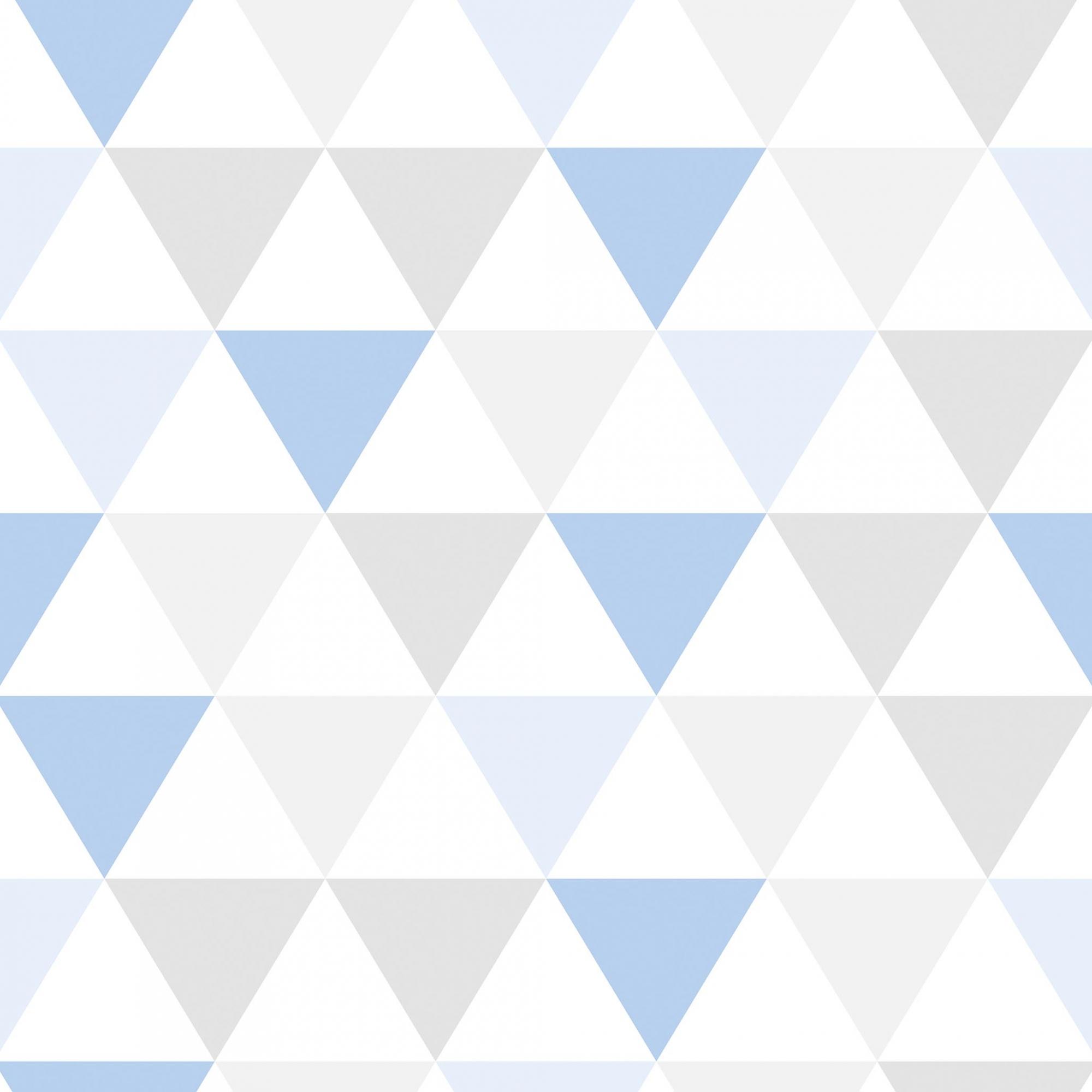 Papel de Parede Geométrico Triângulo Azul e Cinza Tons Claros