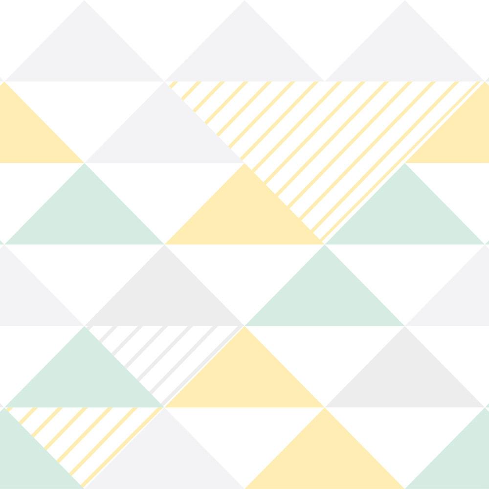Papel de Parede Geométrico Triângulos Cinza Verde e Amarelo
