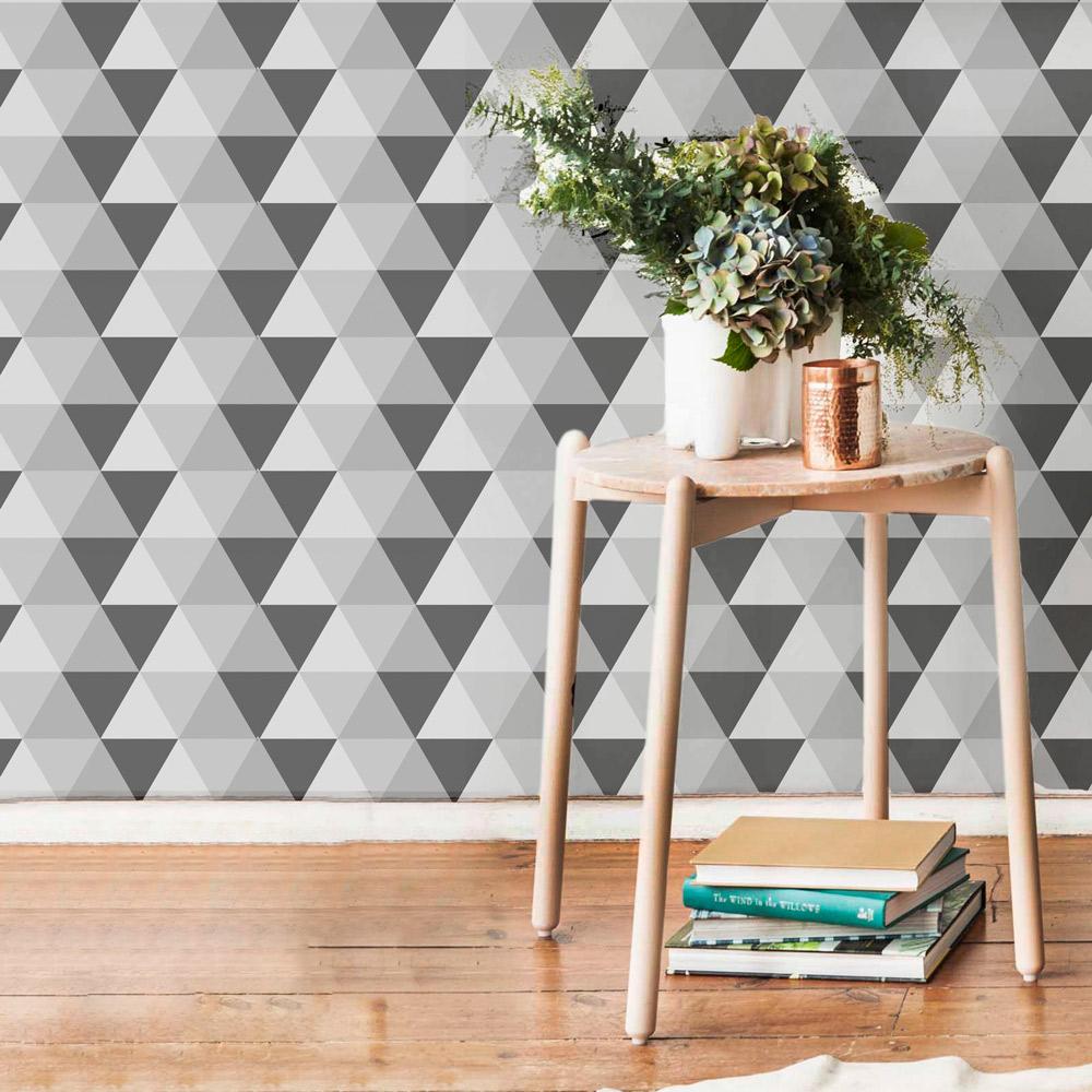 Papel de Parede Geométrico Triângulo Grafite