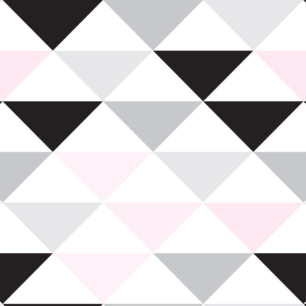 Papel de Parede Geométrico Triângulo Preto Cinza e Rosa