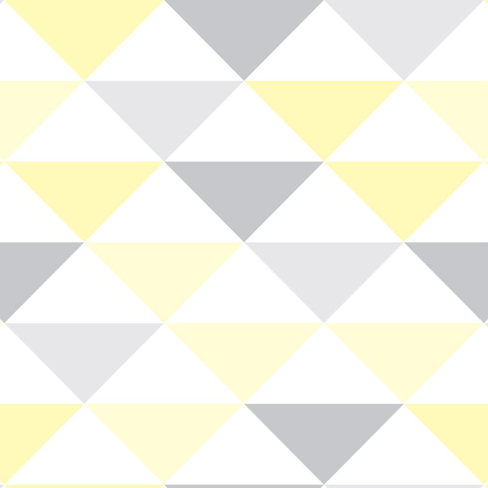 Papel de Parede Geométrico Triângulos Amarelo e Cinza