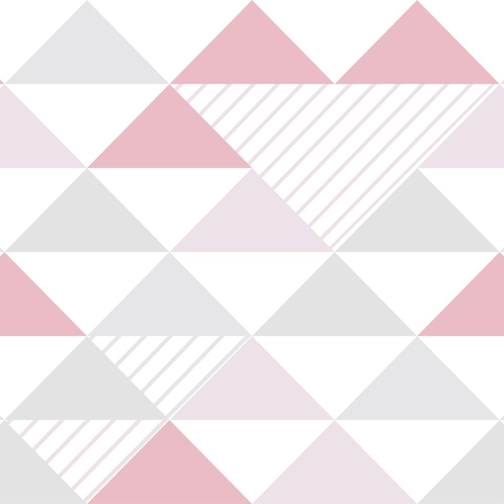 Papel de Parede Geométrico Triângulos Cinza, Lilás e Rosa
