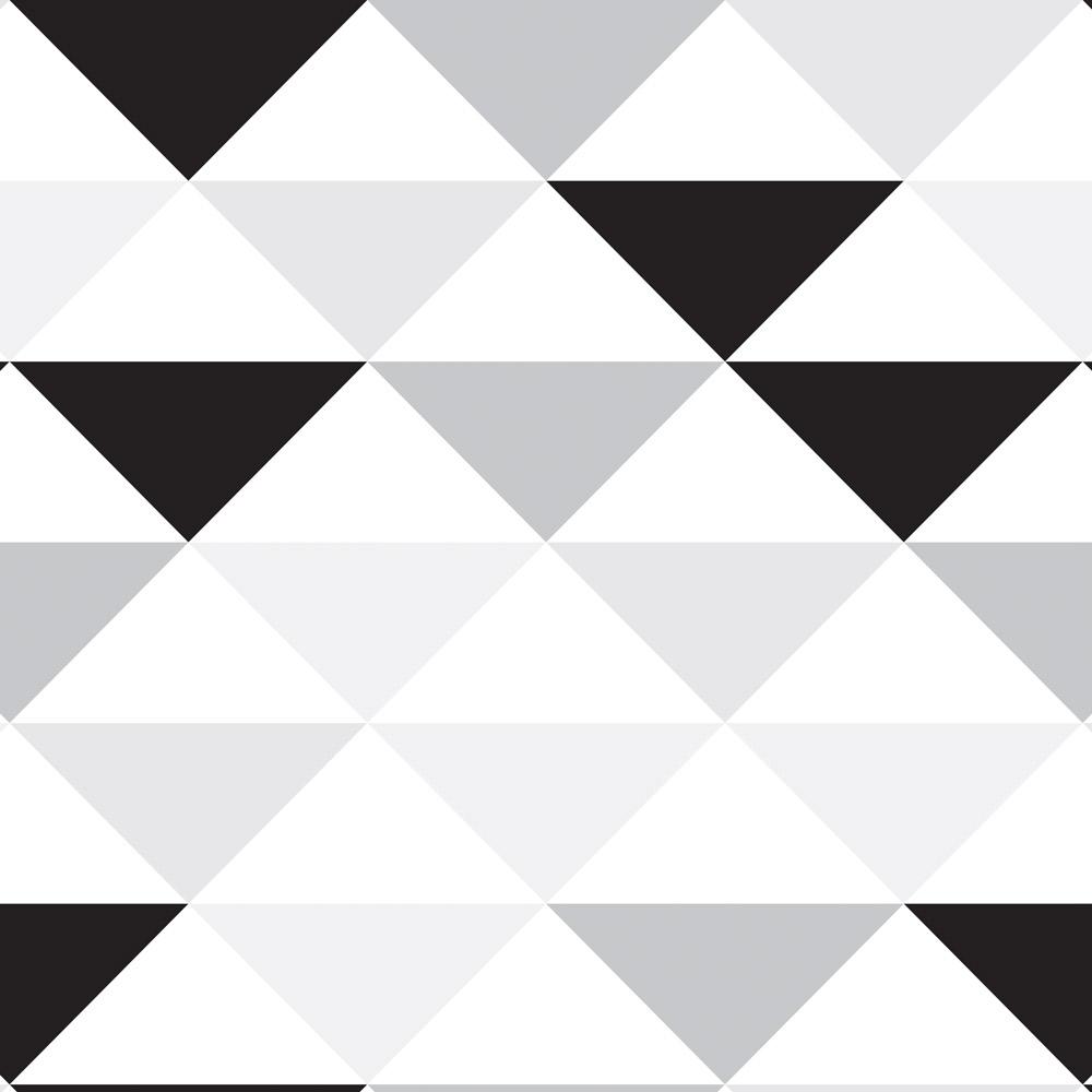 Papel de Parede Geométrico Triângulos Preto e Cinza