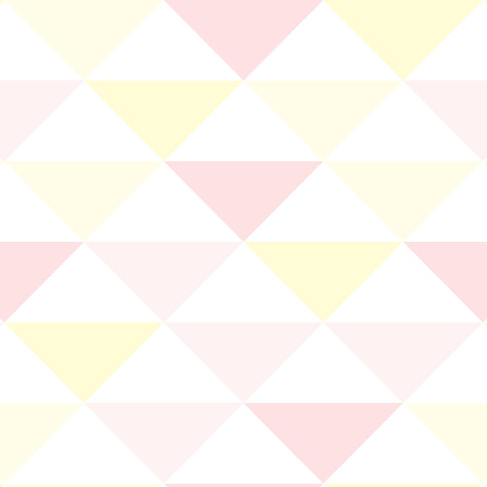 Papel de Parede Geométrico Triângulos Rosa e Amarelo