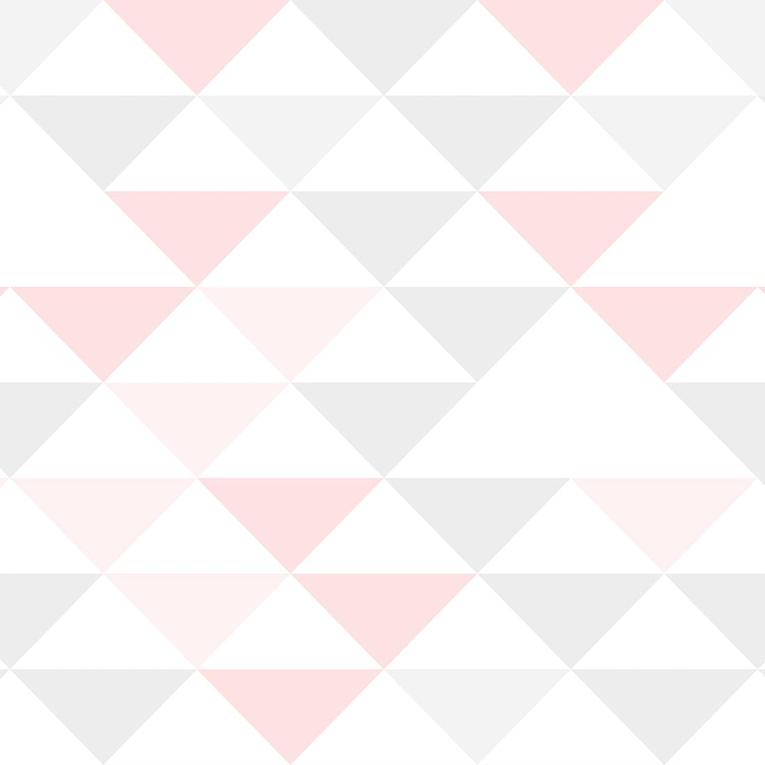 Papel de Parede Geométrico Triângulos Rosa e Cinza