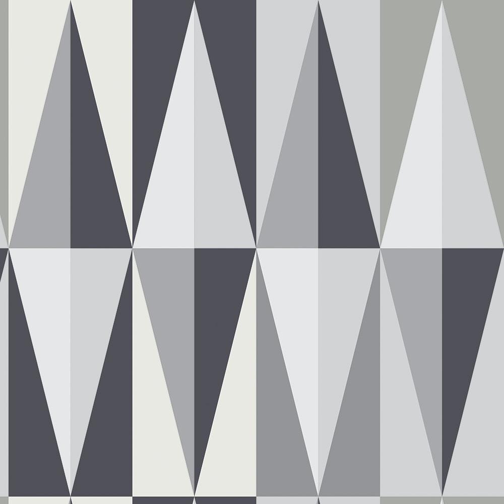 Papel de Parede Geométrico Triângulos Tons de Cinza