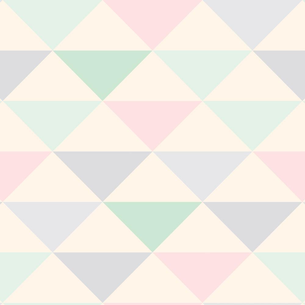 Papel de Parede Geométrico Triângulos Verde Rosa e Lilás