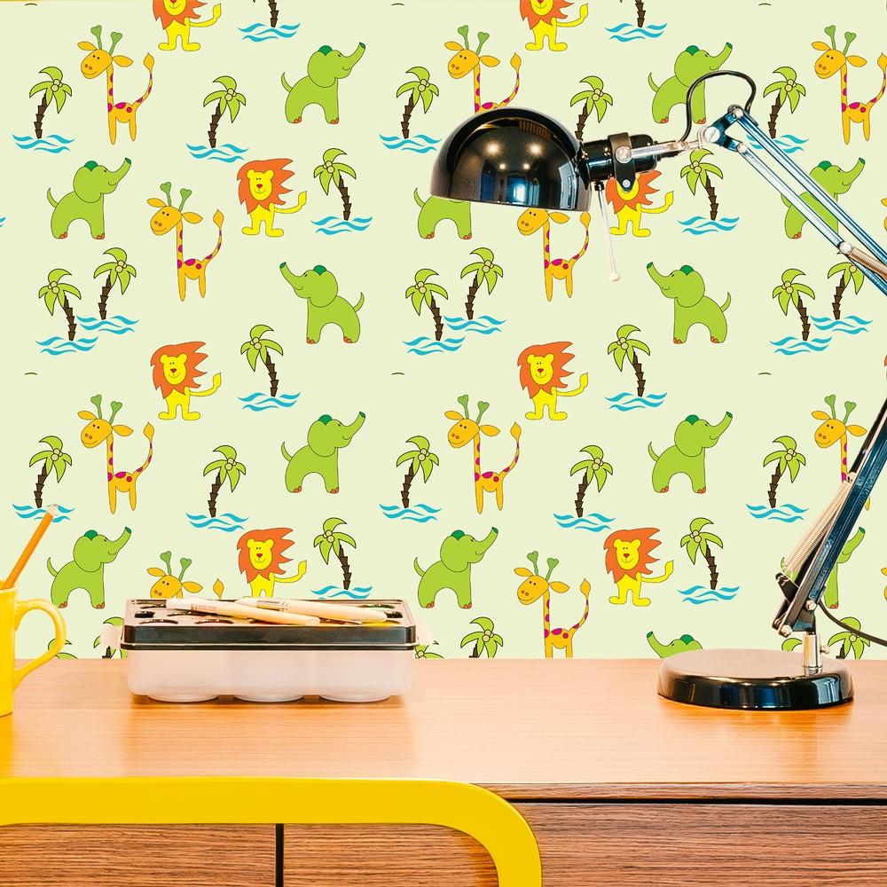 Papel de Parede Girafa, Leão e Elefante