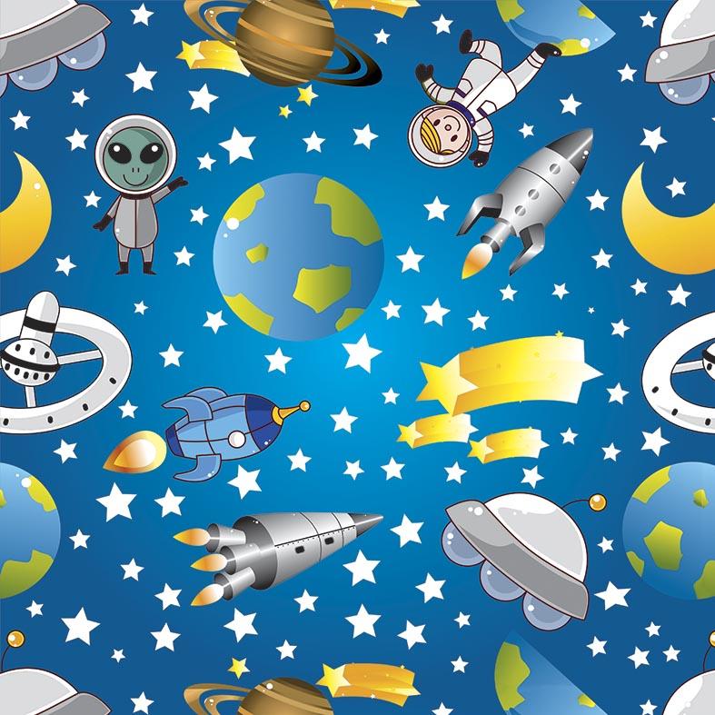 Papel de Parede Infantil Astronauta e Alienígenas no Espaço
