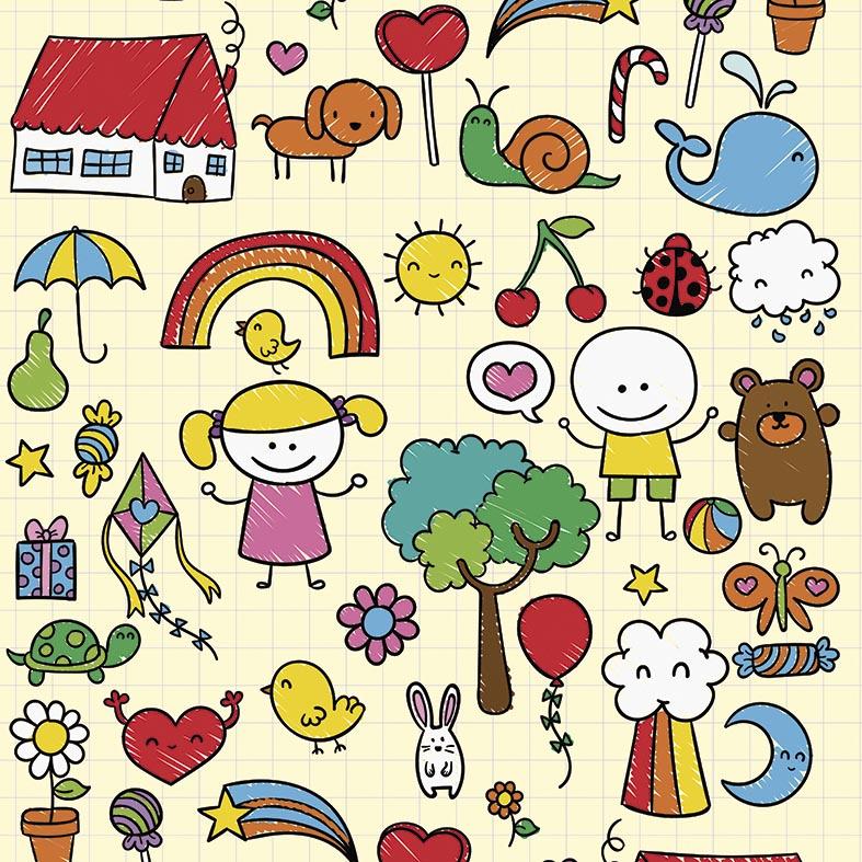 Papel de Parede Infantil Desenhos Variados Coloridos Sobre Amarelo