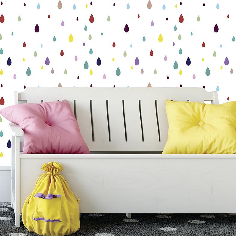 Papel de Parede Infantil Gotas Coloridas