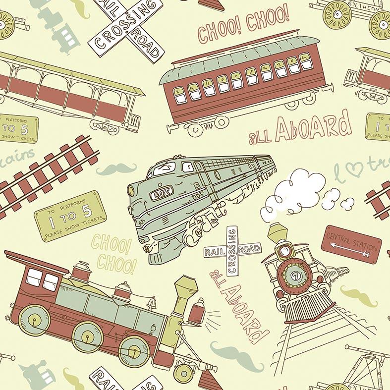 Papel de Parede Infantil Locomotiva e Trem