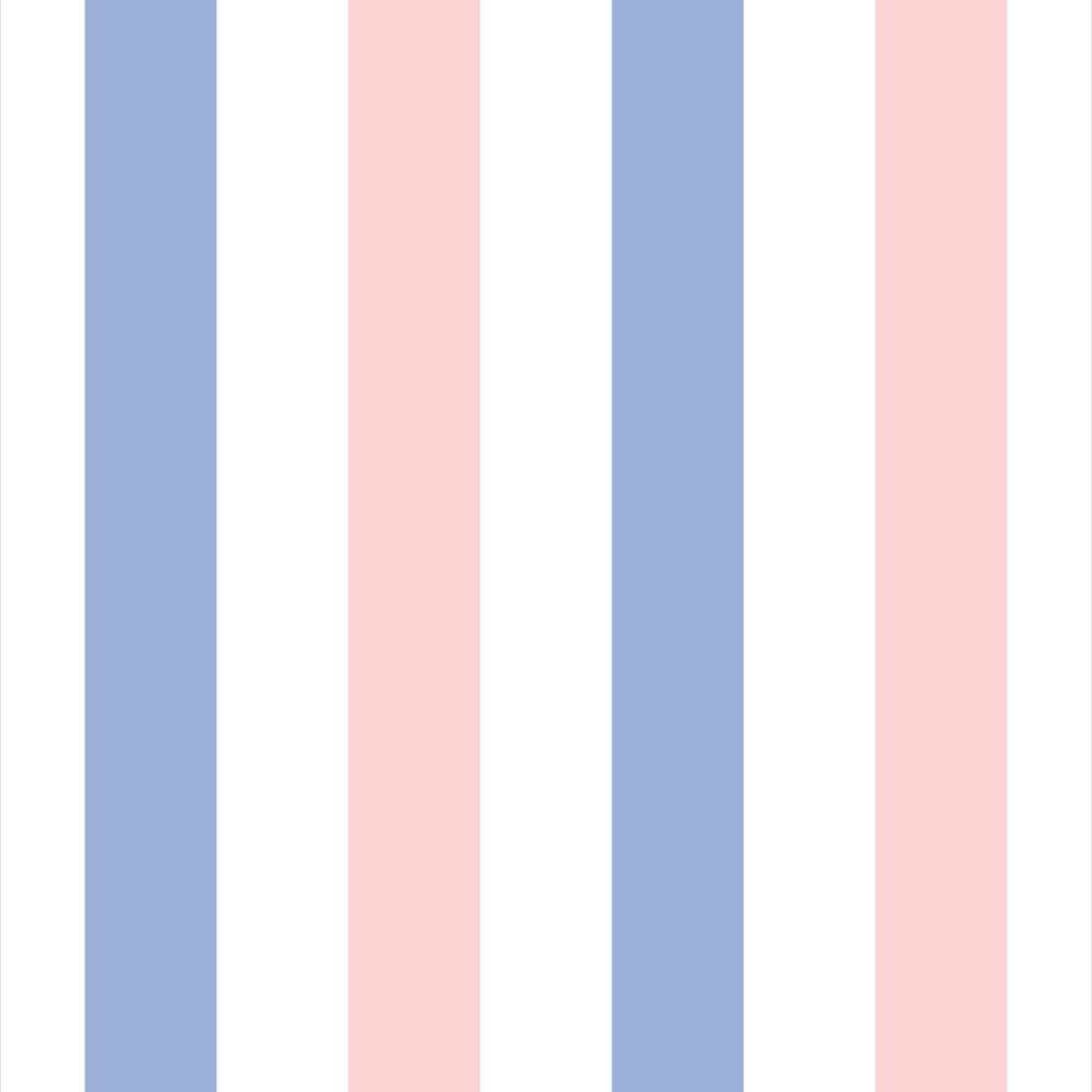 Papel de Parede Listrado em Rosa, Azul e Branco