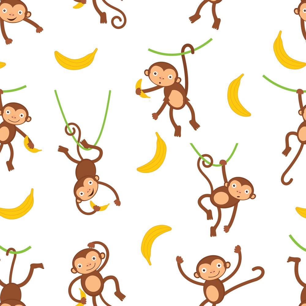 Papel de Parede Macaquinhos no Galho e Bananas