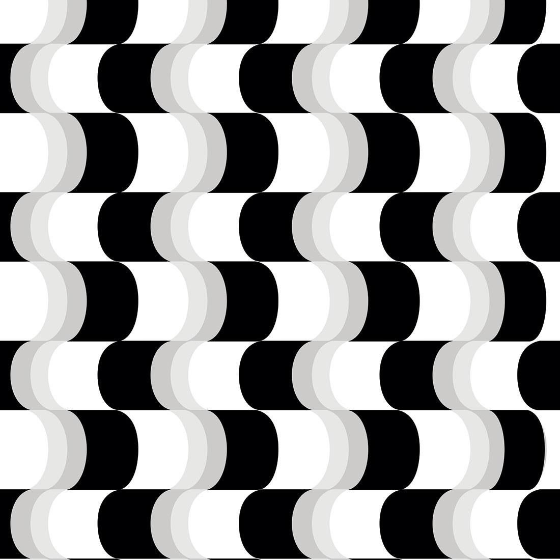 Papel de Parede Ondas Verticais Branco e Preto