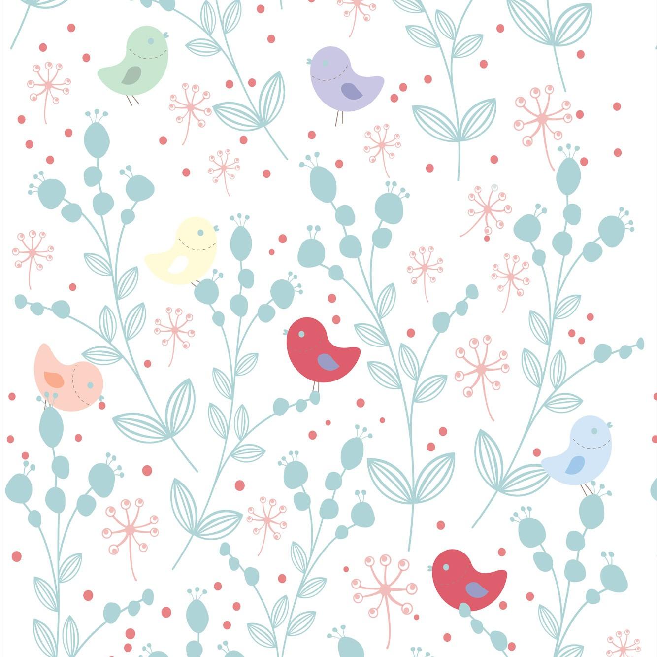 Papel de Parede Pássaros Coloridos e Galhos