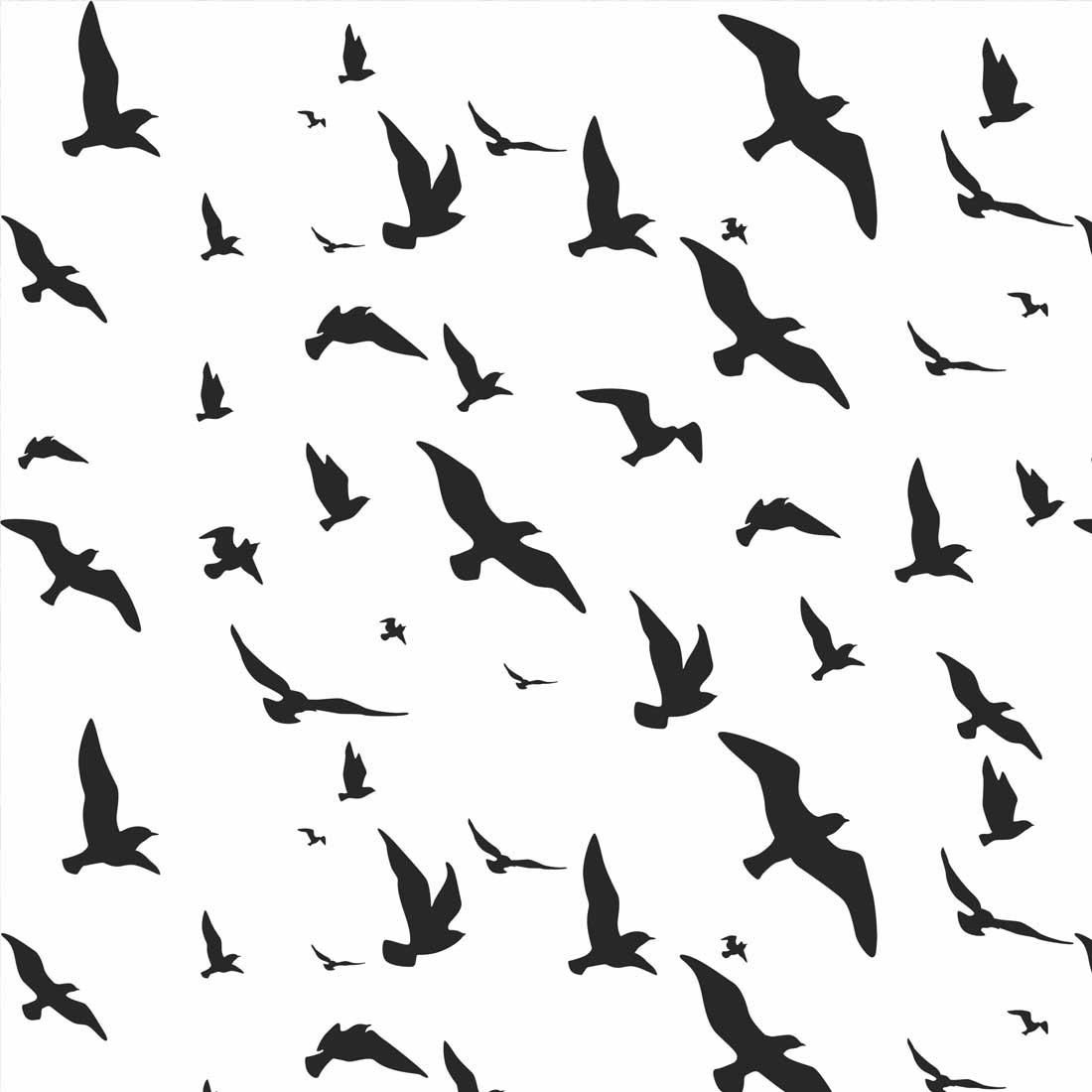 Papel de Parede Pássaros Voando Sobre Branco