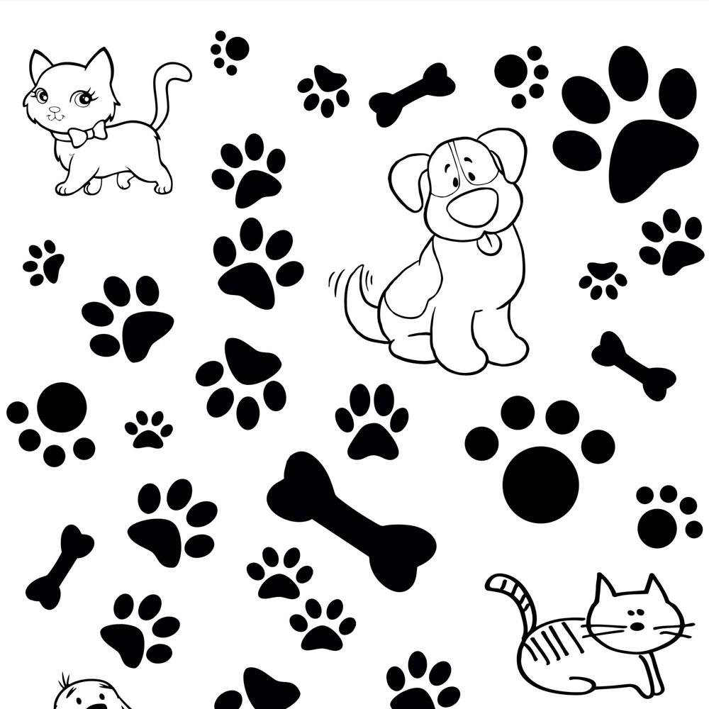 Papel de Parede Patinhas e Pets Preto e Branco